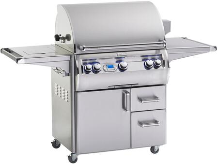 E660S4EAN71W Echelon Diamond Series Freestanding Gas Grill with 660 sq. in. Cooking Area  3 Burners  Double Wall Seamless 304 Stainless Steel Hood  Analog