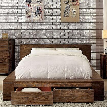 Janeiro Collection CM7629Q-BED Queen Size Bed with Storage Drawers  Modern Low Headboard Design  Slat Kit Included and Wood Veneers Construction in Rustic