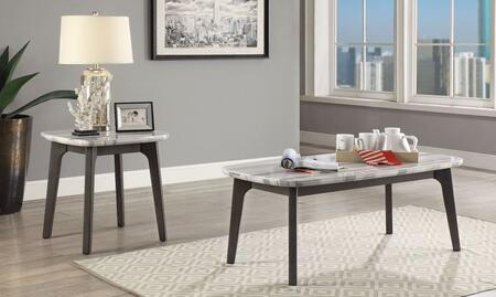 Calvisia Collection 83010CE 2 PC Living Room Table Set with Rectangular Shaped Coffee Table and Square Shaped End Table in Grey Oak