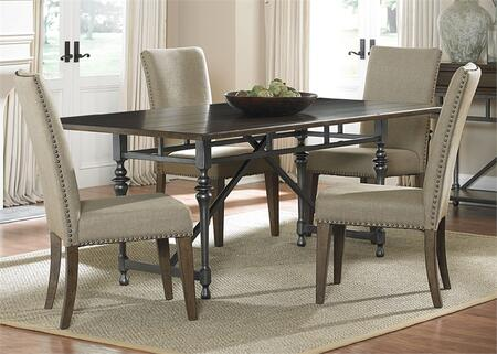 Ivy Park Collection 563-CD-5RLS 5-Piece Dining Room Set with Rectangular Dining Table and 4 Side Chairs in Weathered Honey Finish with Silver