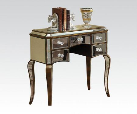 90136 Sherri Console Table with 5 Drawers  Mirrored Design  Cabriole Legs and Decorative Hardware in Bronze