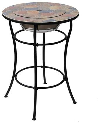 Rock Canyon Classico Collection DM-13002H 30 inch  Outdoor Bar Table with Natural Slate Design  Round Shape  Stainless Steel Ice Basin Insert and Center Lid Lifts
