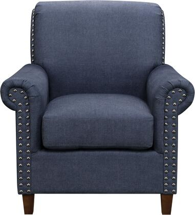 DS-D030004-343 Traditional Roll Arm Accent Chair with Tapered Solid Wood Legs  Nail Head Application and Rolled Arm in Denim