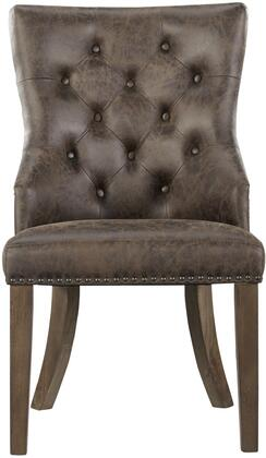 Hawkins Collection 18904 58 inch  Side Chair with Tapered Legs  Nail Head Trim  Brown Faux Leather Upholstery and Selected Hardwoods Construction in Rustic Pine