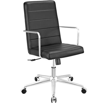 Cavalier Collection EEI-2124-BLK Office Chair with Swivel Seat  Adjustable Height  Dual-Wheel Nylon Casters  Brushed Stainless Steel Armrests  Polished Chrome