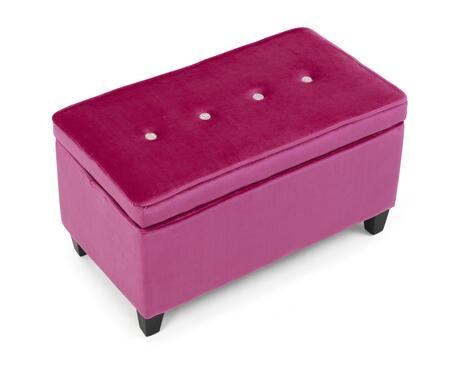 Zooey Collection 12405 31 inch  Girls Storage Bench with Rich Polyester Blend Fabric and Solid Wood Expresso Legs in