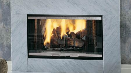 STR36 See-Thru Designer Series 36 Wood Burning Fireplace with Heavy Duty Grate  Black Fire Screen and Gas