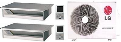 Dual Zone Mini Split Air Conditioner System with 24000 BTU Cooling Capacity  2 Indoor Units  and Outdoor