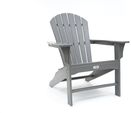 Hampton LUX-1518-SGRY Outdoor Patio Adirondack Chair with 250 lbs. Weight Capacity  Wide Seating and Recycled High Density Polyethylene Construction in