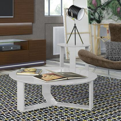 2-8505185151 2-Piece Table Set with Round End Table  Coffee Table  3-Sided  Geometric  Base and Gloss Lacquered Finish in White