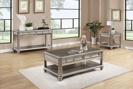 Bling Game 704618CES 3 PC Living Room Table Set with Coffee Table + End Table + Sofa Table in Metallic Platinum