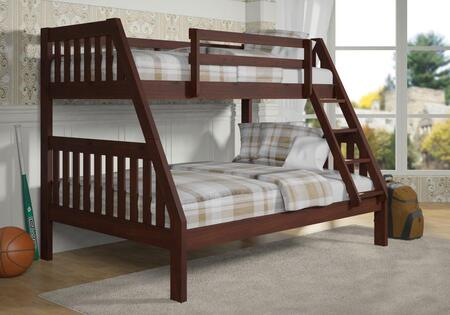 1018-3TFCP Twin Over Full Bunk Bed with Built in Ladder  Slat Headboard and Footboard in Dark