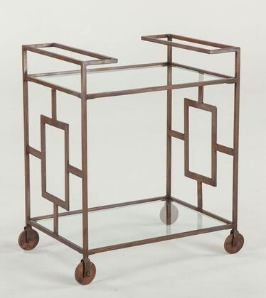 Mirabelle Wmr130 25 Trolley With Clear Glass Top  Clear Glass Bottom Shelf  Casters  Solid Iron Base And Copper In Brown