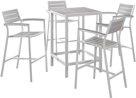 Maine Collection EEI-1755-WHI-LGR-SET 5-Piece Outdoor Patio Dining Set with Bar Table and Four Bar Stools in White and Light