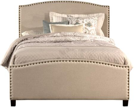 Kerstein Collection 1932BTRT Twin Size Bed with Headboard  Footboard  Rails  Fabric Upholstery  Decorative Nail Head Trim and Sturdy Wood Construction in Light
