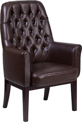 BT-444-SD-BN-GG High Back Traditional Tufted Brown Leather Side Reception