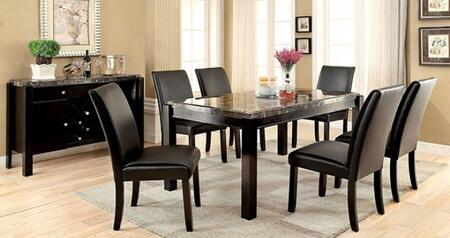 Grandstone I Collection CM3823BKT6SCSV 8-Piece Dining Room Set with Rectangular Table  6 Side Chairs and Server in