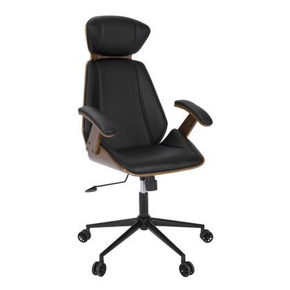 OC-SPEC WL+BK Spectre Mid-Century Modern Walnut Wood Office Chair in