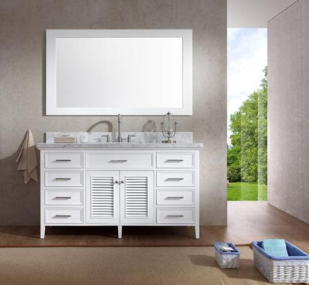 D061SWHT Ariel Kensington 61 Single Sink Vanity Set with Marble Top  Mirror  Eight Drawers and Two Doors in