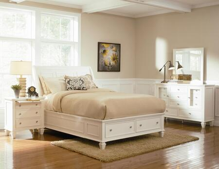 201309kwset6 Sandy Beach 6 Pc Cal. King Bedroom Set In White Finish (bed  2x Nightstand  Dresser  Mirror  And