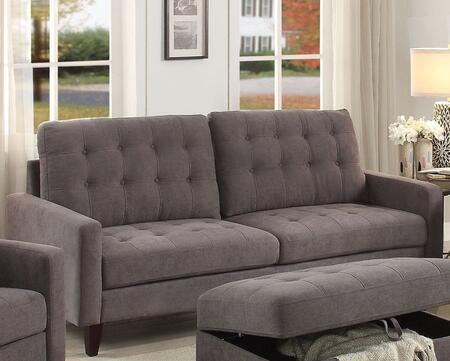 Nate Collection 50240 86 inch  Sofa with Memory Foam Cushions  Track Arms  Pocket Coil Seating  Tapered Legs  Pine Wood Frame and Fabric Upholstery in Grey