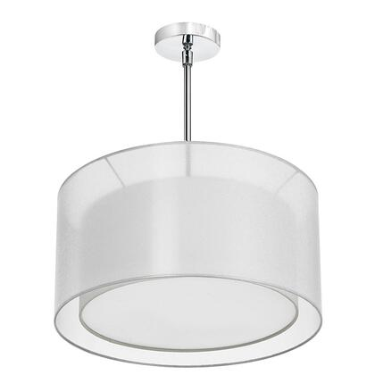 MEL228-819-790-PC 3 Light Pendant  Shade Within A Shade  Polished Chrome  Outside Shade White Laminated Organza  Inside Shade White