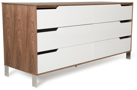 Modrest River Collection VGBBMC1308 57 inch  Dresser with 6 Drawers  Cut-out Handles and Stainless Steel Legs in White and