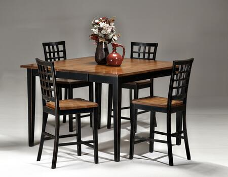 Arlington AR-TA-54541854G-BLJ  Dining Room Gathering Table with 4 Stools Distressed Detail in Black Java