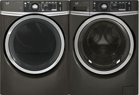 Front Load Steam GFW480SPKDG 28 Washer with GFD48ESPKDG 28 Electric Dryer Laundry Pair in Diamond