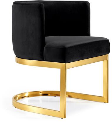 Gianna Collection 718Black-C 19 inch  Dining Chair with Plush Velvet Upholstery  Gold Stainless Steel Base and Barrel Back Design in