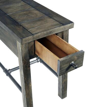 River Court T505-29 Chairside Table with One Drawer  Simple Pulls and Metal Stretchers in Weathered