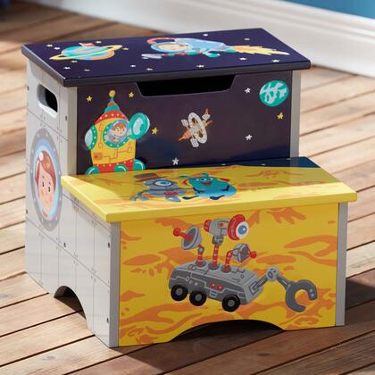 TD12223A Outer Space Hand Crafted Kids Wooden Step Stool with