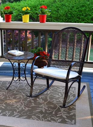 Garden Collection GR-STR2PC 2-Piece Bistro Set with Rocking Chair and Side Table in Oiled Copper