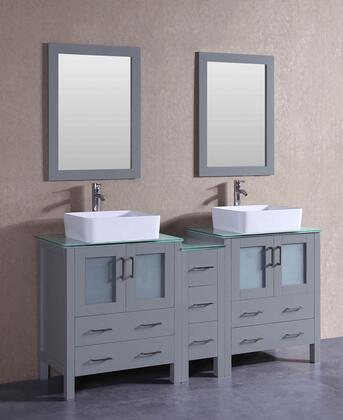 AGR230RCCWG1S 72 inch  Double Vanity with Clear Tempered Glass Top  Rectangle White Ceramic Vessel Sink  F-S02 Faucet  Mirror  4 Doors and 7 Drawers in