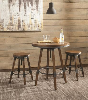 Hornell Collection 182035SET 3 PC Bar Table Set with Bar Table + 2 Bar Stools in Weathered Oak