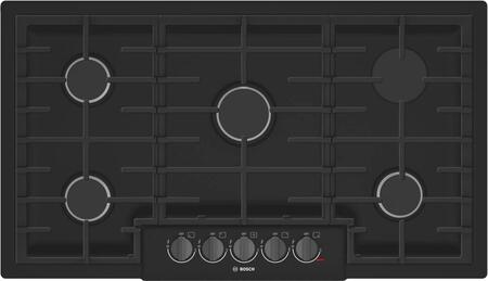 Bosch NGM8646UC 800 Series 36 Inch Wide Built-In Gas Cooktop with 5 Sealed Burners, Black
