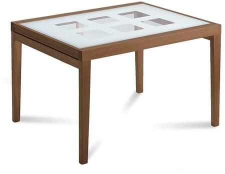 POKER.R.9.R01 Poker Rectangular Dining Room Table with Screen Printed Tempered Glass Top  Self Contained Extension and Cherry Beechwood