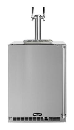 """60HKTSSBLL Solid Stainless Steel Door 24"""" Outdoor Beer Dispenser with Twin Tap  6.54 Storage Capacity  Dynamic Cooling Technology  Close Door Assist System and"""