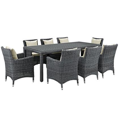 Summon Collection EEI-2331-GRY-BEI-SET 9-Piece Outdoor Patio Sunbrella Dining Set with Dining Table and 8 Armchairs in Antique Canvas