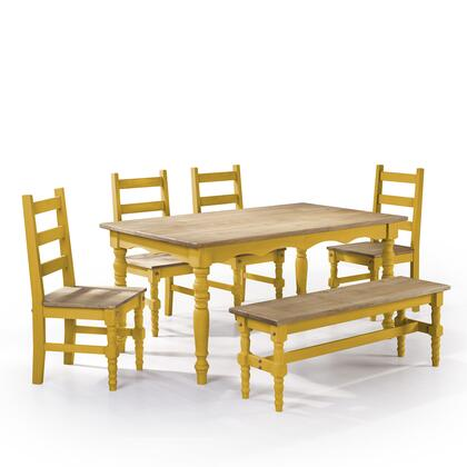 "Jay 1.0 Collection CSJ102 60"" 6-Piece Solid Wood Dining Set with 1 Bench  4 Chairs  and 1 Table in Yellow"