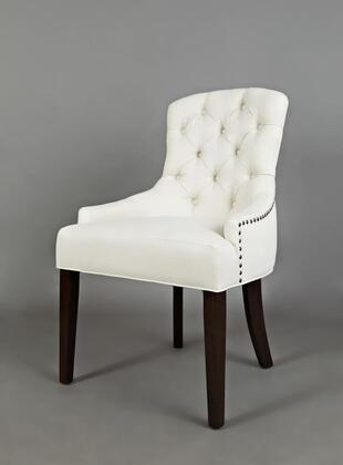 Easy Living Pierce Collection PIERCE-CH-IVORY 20 inch  Accent Chair with Nail Head Trim  Dark Arabica Tapered Legs  Stain Resistant and Fabric Upholstery in Ivory