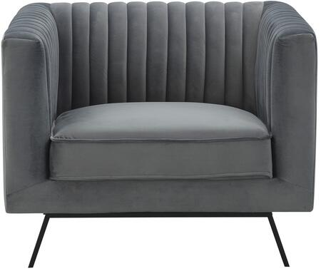 Vandam 97B1HL1 Arm Chair with Metal Splayed Legs  Stitching Details and Velvet Upholstery in Charcoal