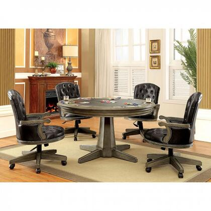 Yelena CM-GM357T-TABLE Game Table with Contemporary Style inter-Changeable Design  Pedestal Base  Built-In Cup Holders in 785226