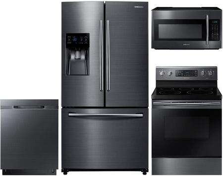 4-Piece Black Stainless Steel Kitchen Package with 36