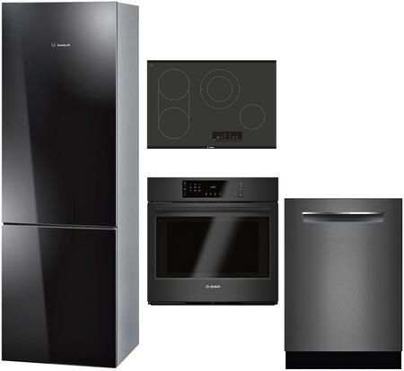 """Bosch 4 Piece Kitchen Appliances Package with B10CB80NVB 24"""" Bottom Freezer Refrigerator  HBL8461UC 30"""" Electric Single Wall Oven  NET8068UC 30"""" Electric"""