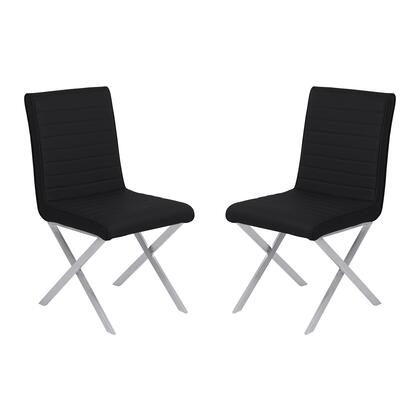Tempe Collection LCTESIBLBS Contemporary Dining Chair in Black Faux Leather with Brushed Stainless Steel Finish - Set of