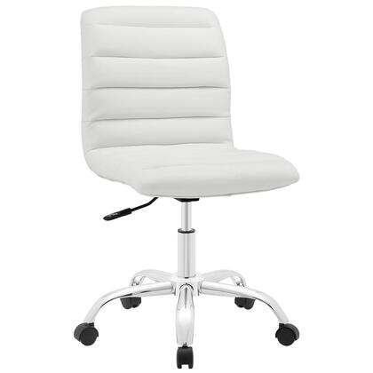Ripple Collection EEI-1532-WHI Armless Office Chair with Swivel Seat  Adjustable Height  Polished Chrome Hooded Base  Five Dual-Wheel Nylon Casters  Mid High
