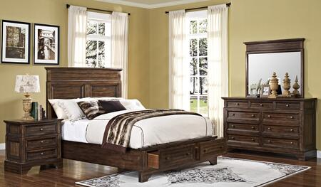 00186qbdmn Grandview 4 Piece Bedroom Set With Storage Queen Bed  Mirror And Nightstand  In