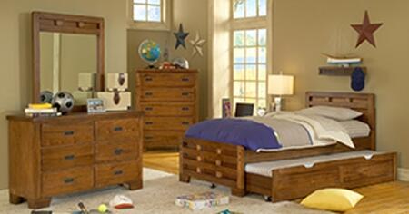 Heartland 1800-46CPB-TRNMRDRCDNS 5-Piece Bedroom Sets with Full Trundle Bed  Mirror  Dresser  Chest of Drawers and Nightstand in Spice