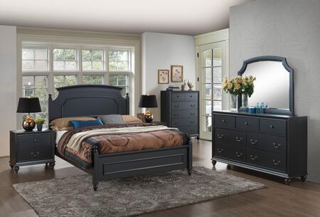 Edwige Collection 25977EKSET 6 PC Bedroom Set with King Size Poster Bed + Dresser + Mirror + Chest + 2 Nightstands in Black